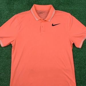 NIKE GOLF TR DRY TIPPED POLO SHIRT LAVA GLOW  PINK